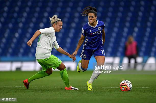 Claire Rafferty of Chelsea Ladies and Zsanett Jakabfi of Wolfsburg in action during a UEFA Champions League match between Chelsea Ladies and...