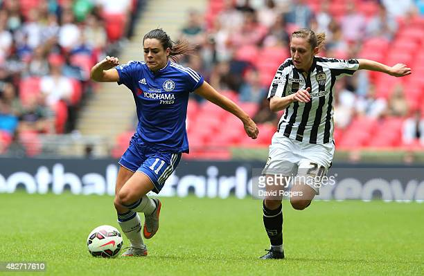 Claire Rafferty of Chelsea moves away from Aileen Whelan during the Women's FA Cup Final match between Chelsea Ladies FC and Notts County Ladies at...