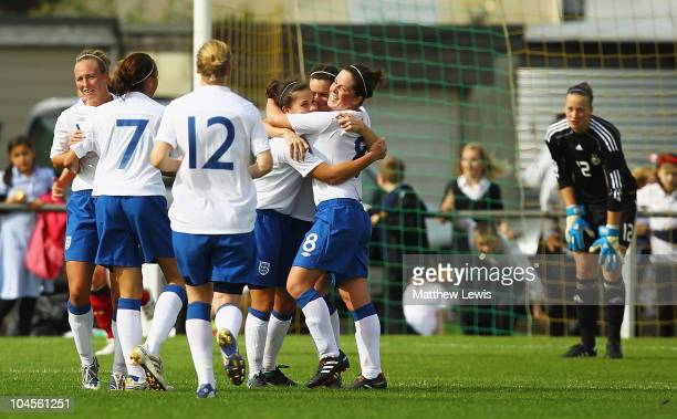 Claire Rafferty of England is congratulated on scoring the winning goal during the International Friendly match between England U23 Women and Germany...