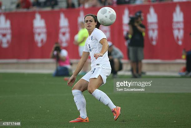 Claire Rafferty of England moves the ball against Canada during their Women's International Friendly match on May 29 2015 at Tim Hortons Field in...