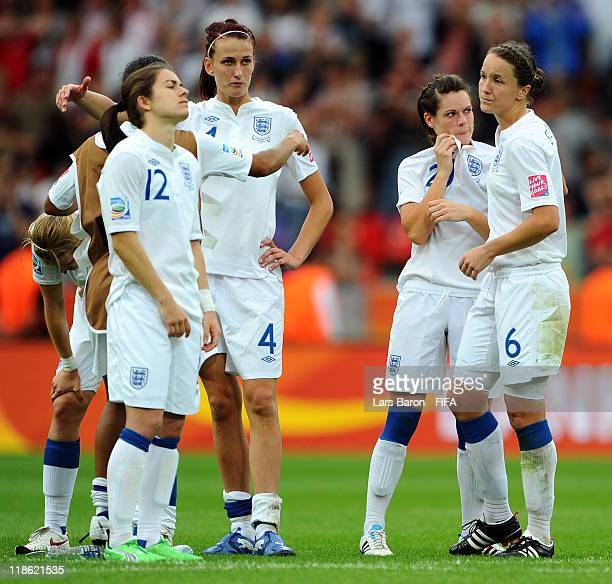 Claire Rafferty of England who missed the first penalty for England looks dejected after loosing the FIFA Women's World Cup 2011 Quarter Final match...