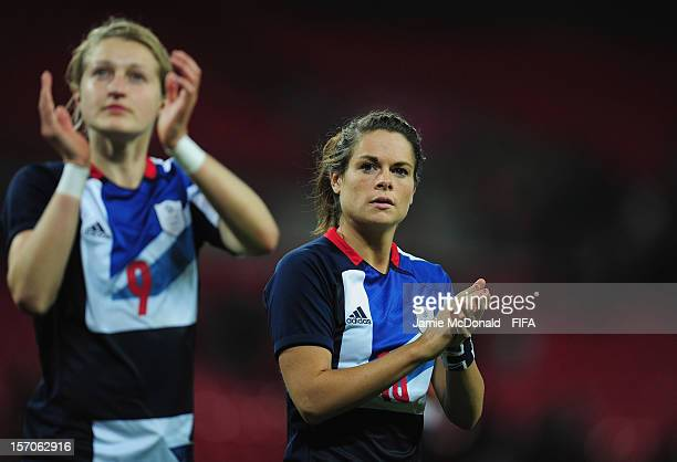 Claire Rafferty of Great Britain applauds the crowd during the Women's Football first round Group E Match between Great Britain and Brazilon Day 4 of...