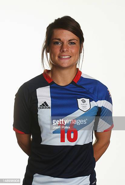 Claire Rafferty of Team GB Women's Olympic Football Team poses during an official portrait session at the Marriot Hotel on July 21 2012 in Cardiff...