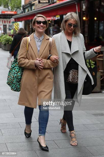 Claire Richards and Faye Tozer from Steps seen leaving the Global Radio Studios on April 25 2017 in London England