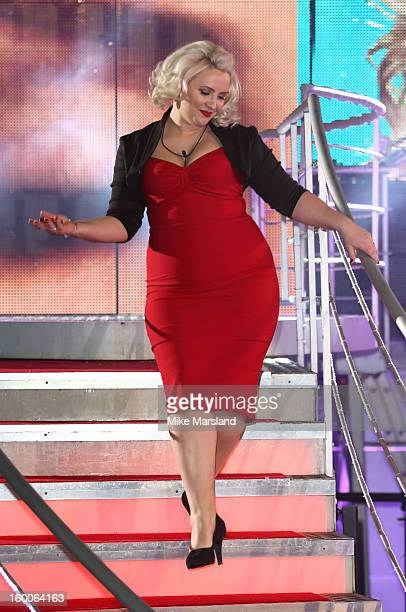 Claire Richards is evicted from the Celebrity Big Brother House at Elstree Studios on January 25 2013 in Borehamwood England