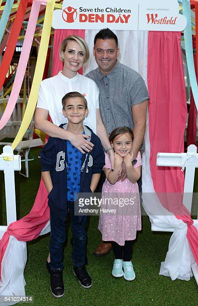 Claire Richards supports Save the Children's Den Day with her family Recce Hill Daisy Hill and Charlie Hill at Westfield London on June 18 2016 in...