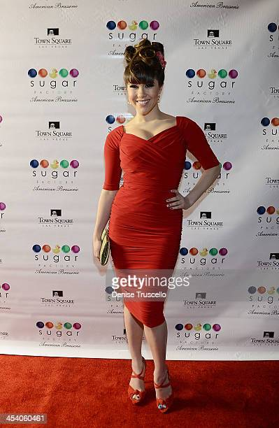 Claire Sinclair arrives at the Sugar Factory grand opening at Town Square on December 6 2013 in Las Vegas Nevada
