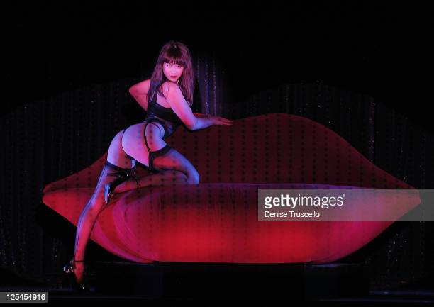 Claire Sinclair performs in Crazy Horse Paris at the MGM Resort Casino on October 21 2010 in Las Vegas Nevada