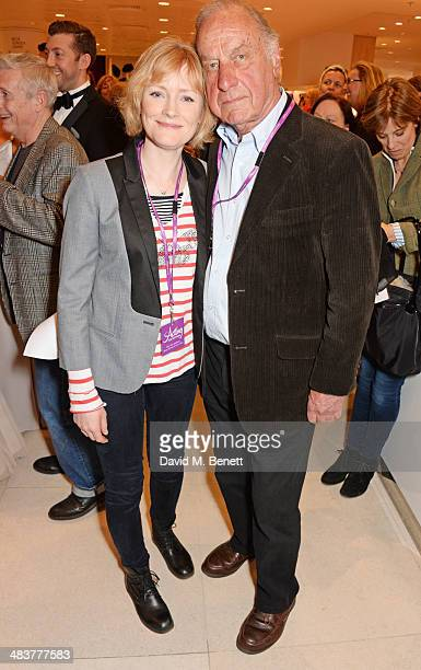 Claire Skinner and Geoffrey Palmer attend the Shop with the Stars a public shopping evening to celebrate The Olivier Awards with MasterCard to raise...