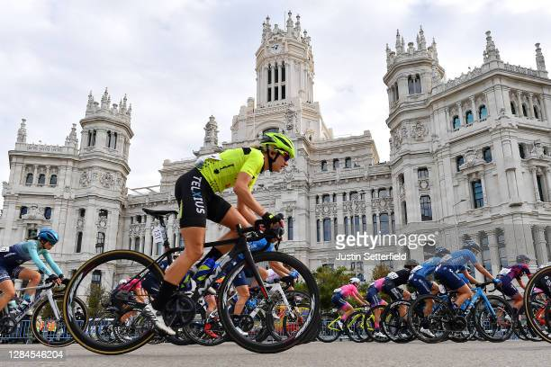 Claire Steels of The United Kingdom and Team Sopela Womens / Alicia Gonzalez Blanco of Spain and Movistar Team / Barbara Guarischi of Italy and...