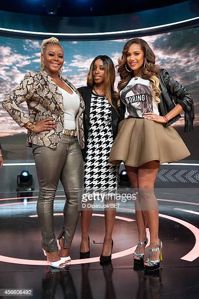 Claire Sulmers Amani and Erica Mena attend BET's 106 Park at BET studios on October 1 2014 in New York City