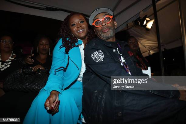 Claire Sulmers and Spike Lee Attend Harlem's Fashion Row at La Marina Restaurant Bar Beach Lounge on September 6 2017 in New York City