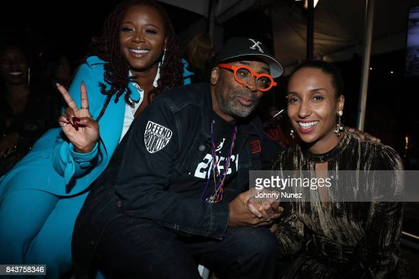Claire Sulmers Spike Lee and Chioma Nnadi Attend Harlem's Fashion Row at La Marina Restaurant Bar Beach Lounge on September 6 2017 in New York City