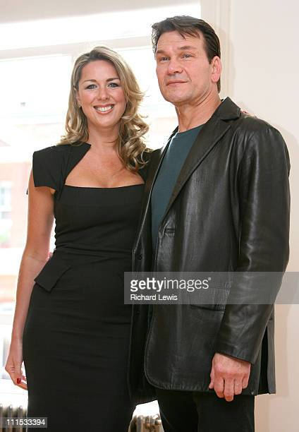 Claire Sweeney and Patrick Swayze during Patrick Swayze Joins the Cast of Guys and Dolls Photocall at Century in London Great Britain