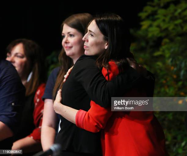 Claire Szabo is hugged by Prime Minister Jacinda Ardern after being announced as the new Labour Party president during the Labour Annual Conference...