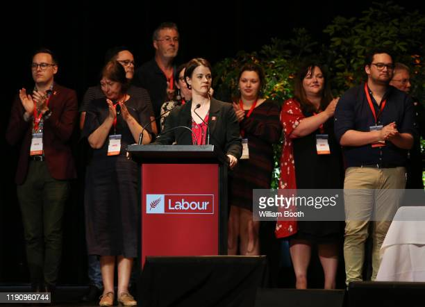 Claire Szabo speaks as the new Labour Party president during the Labour Annual Conference at the Whanganui War Memorial Centre on November 30 2019 in...