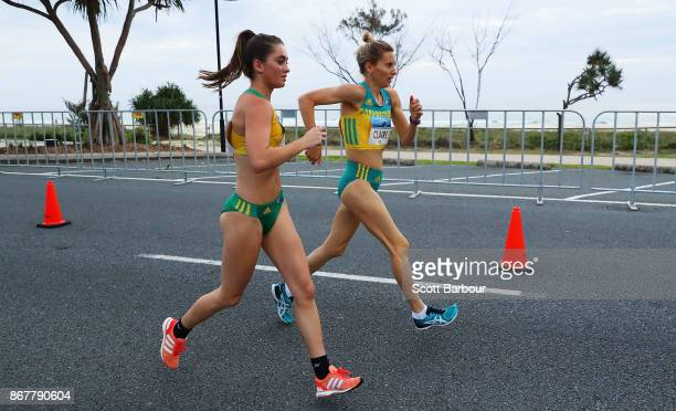 Claire Tallent competes during the Race Walk Test Event along Currumbin Bay on October 29 2017 in the Gold Coast Australia The Road Race is a test...