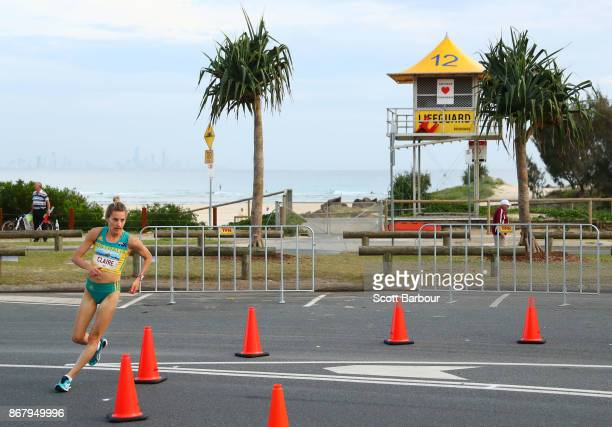 Claire Tallent goes around a corner as she competes during the Race Walk Test Event along Currumbin Bay on October 29 2017 in the Gold Coast...