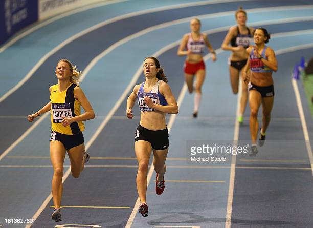 Claire Tarplee wins the women's final 800m final from Alison Leonard during day two of the British Athletics European Trials UK Championship at the...
