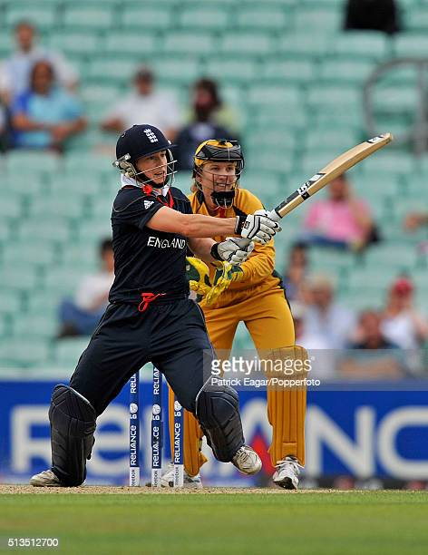 Claire Taylor of England batting during her innings of 76 not out in the ICC Women's World Twenty20 Semi Final between England and Australia at The...