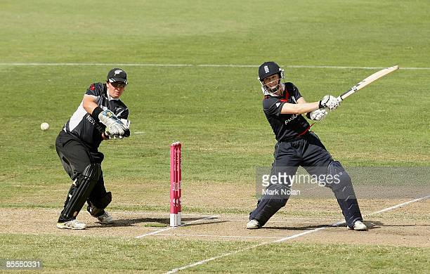 Claire Taylor of England plays a cut shot during the ICC Women's World Cup 2009 final match between England and New Zealand at North Sydney Oval on...