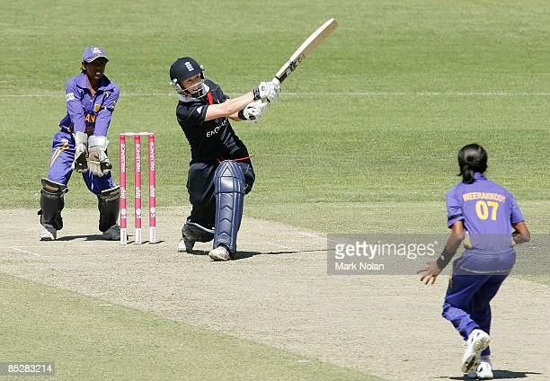 Claire Taylor of England plays a leg side shot during the ICC Women's World Cup 2009 round one group stage match between England and Sri Lanka at...