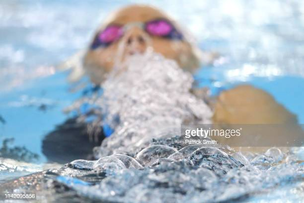 Claire Tuggle competes in the women's 400 meter individual medley final B during day two of the TYR Pro Swim Series at Collegiate School Aquatics...