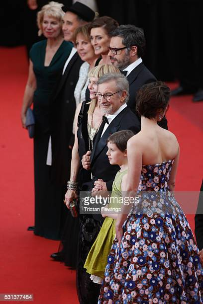 "Claire van Kampen, Mark Rylance, Penelope Wilton, Lucy Dahl, Jemaine Clement, Steven Spielberg, Ruby Barnhill and Rebecca Hall attend ""The BFG ""..."