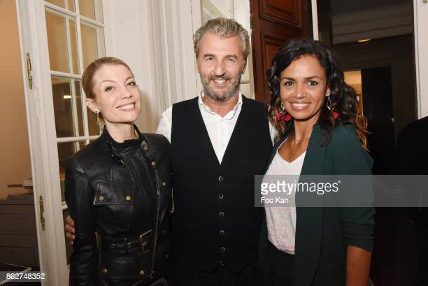 Claire Verneil Philippe Vignola and Laurence Roustandjeel attend the 'Love EtcÉ' Caroline Faindt Exhibition Preview at '28 Octobre Office' on October...