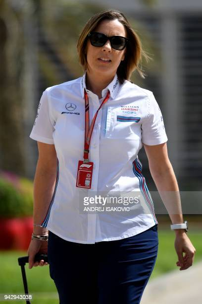 Claire Williams deputy team principal of the Williams Formula One racing team walks down the paddock on April 7 ahead of the qualifiers for the...
