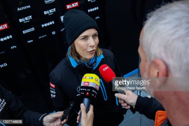Claire Williams of Williams attends to the Media during day one of Formula 1 Winter Testing at Circuit de BarcelonaCatalunya on February 21 2020 in...