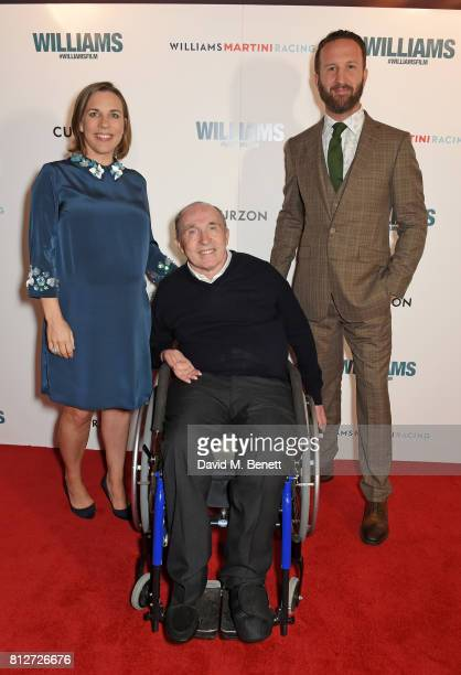 """Claire Williams, Sir Frank Williams and Morgan Matthews attend the World Premiere of """"Williams"""" hosted by Martini at The Curzon Mayfair on July 11,..."""