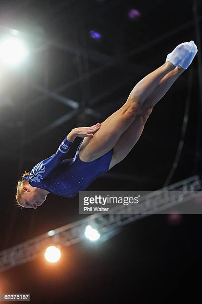 Claire Wright of Great Britain competes in the Women's Trampoline Qualification at the National Indoor Stadium on Day 8 of the Beijing 2008 Olympic...