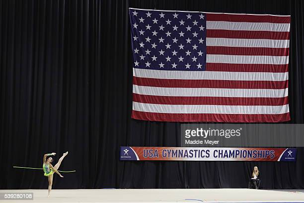Claire Zoftis competes with the rope during the Junior 2016 USA Gymnastics Championships at the Dunkin' Donuts Center on June 10, 2016 in Providence,...