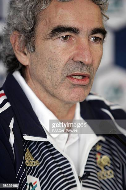 France football coach Raymond Domenech speaks during a press conference 28 February 2006 in Clairefontaine France squad will face Slovakia in a...