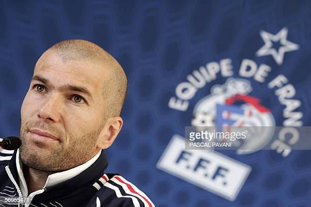 France football team captain Zinedine Zidane speaks during a press conference 28 February 2006 in Clairefontaine France squad will face Slovakia in a...