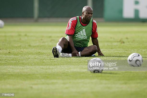 French forward Sylvain Wiltord attends a training session 14 August 2006 in Clairfontaine two days before the friendly match France vs Bosnia and...