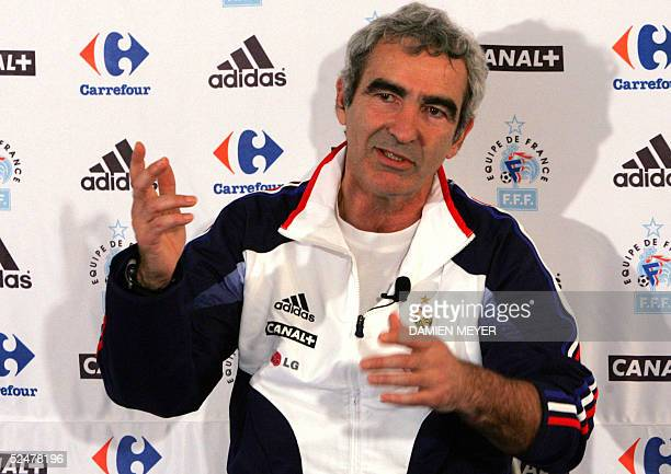 French soccer national team coach Raymond Domenech gives a press conference 25 March 2005 in Clairefontaine outside Paris on the eve of the 2006...