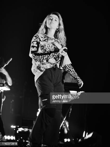 Clairo performs on stage during 'Khalid Free Spirit World Tour' at AmericanAirlines Arena on August 17 2019 in Miami Florida