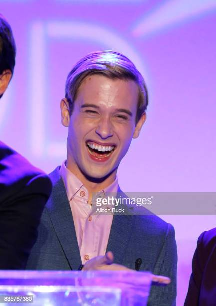 Clairvoyant Tyler Henry speaks onstage during Project Angel Food's 2017 Angel Awards on August 19 2017 in Los Angeles California