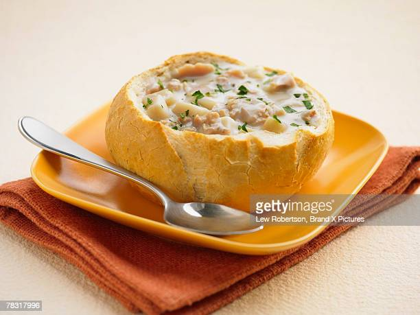 Clam chowder in bread bowl