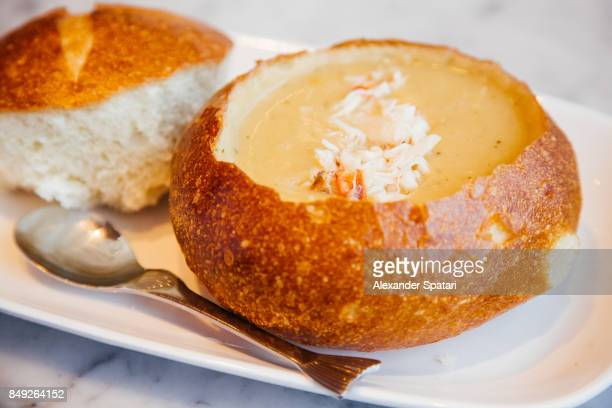 Clam chowder served in bread, San Francisco, California, USA