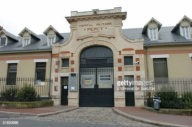 Photo of the entrance of the French military Percy hospital in Clamart south of Paris taken 31 October 2004 where Palestinian leader Yasser Arafat...