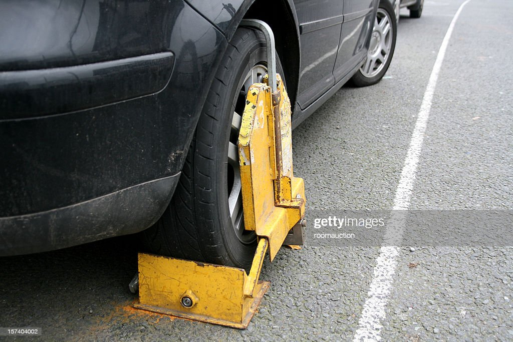 clamped wheel : Stock Photo