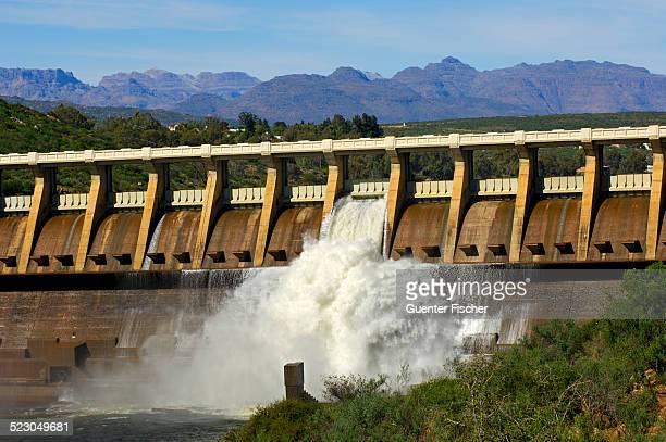 Clanwilliam Dam on the Olifants River with open flood gates, Clanwilliam, Western Cape, South Africa, Africa