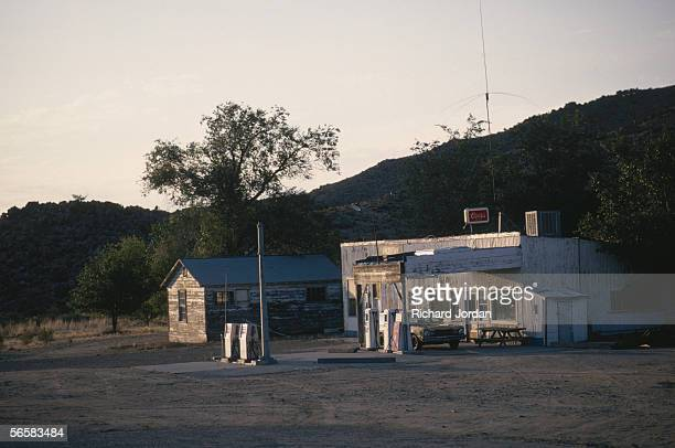 A clapboard gas station in the hills of Hackberry Arizona one of the stops along Historic Route 66 1989