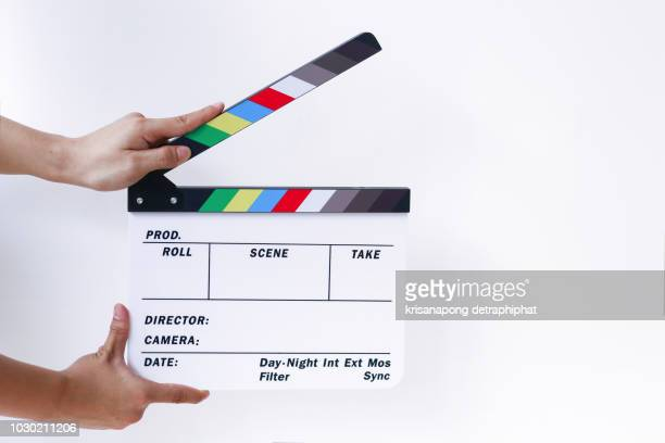 clapboard on white background,slate film,studio - television camera stock pictures, royalty-free photos & images