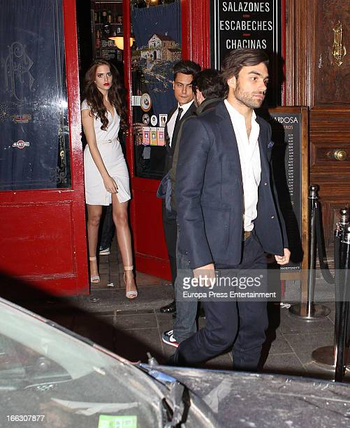 Clara Alonso and Diego Osorio are seen leaving Emporio Armani party on April 8 2013 in Madrid Spain