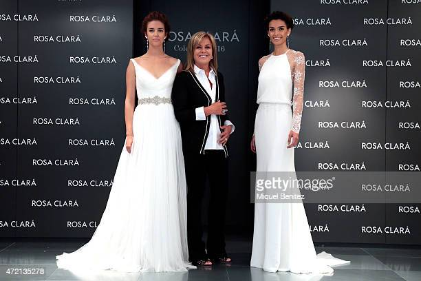 J Clara Alonso Rosa Clara and Clara Joana Sanz pose during the Rosa Clara Fitting for the Rosa Clara 2016 Collection on May 4 2015 in Barcelona Spain
