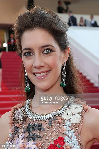 Clara Alonso wearing Chopard earings and a Swarovski bag attends the 'Loving' premiere during the 69th annual Cannes Film Festival at the Palais des...